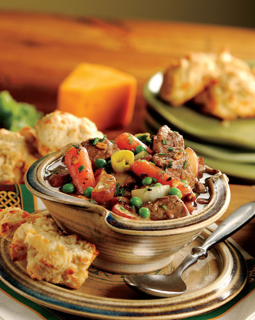 Beef Slow Cooker Irish Stew with Cheddar Irish Soda Biscuits