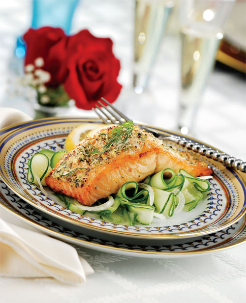 Broiled Sour Cream & Dill Salmon