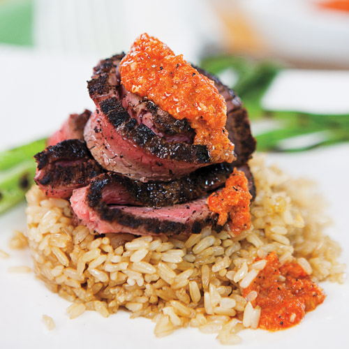 Grilled Spiced Flank Steak with Grilled Tomato Romesco