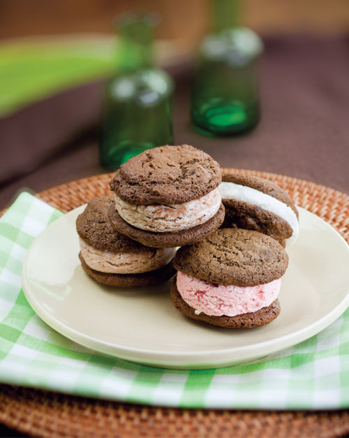 Double Chocolate Chunk Cookie Ice Cream Sandwiches