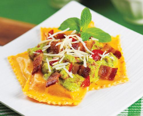 Ravioli with Minted Pea Sauce