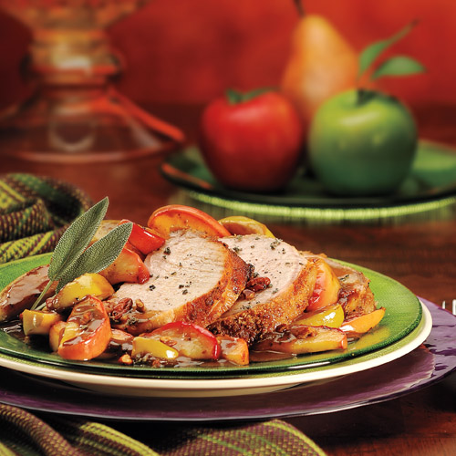 Roast Pork Loin with Glazed Apples, Sage & Pecans