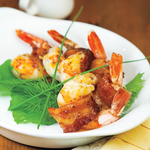Bacon-Wrapped Shrimp with Honey Mustard Glaze