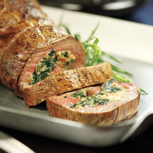 Spinach and Bacon Stuffed Beef Tenderloin