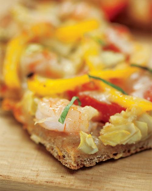 Grilled Shrimp, Artichoke & Tomato Pizza