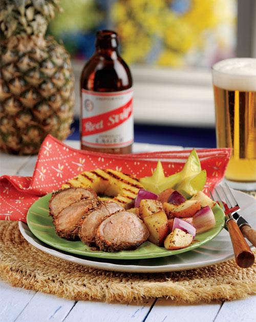 Jerk Pork Tenderloin with Spiced Red Potatoes & Grilled Pineapple