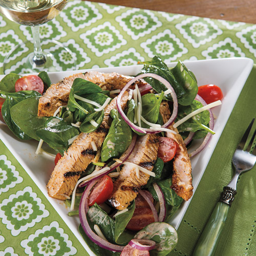 Turkey Spinach Salad with Jalapeno Lime Dressing