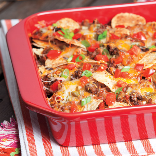 Spicy Beef and Refried Bean Nacho Bake