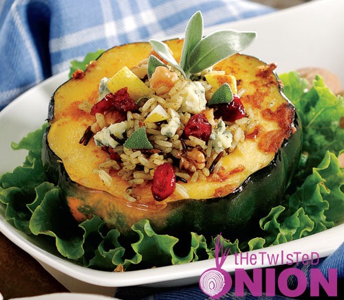 Wild Rice, Pear & Gorgonzola Stuffed Acorn Squash