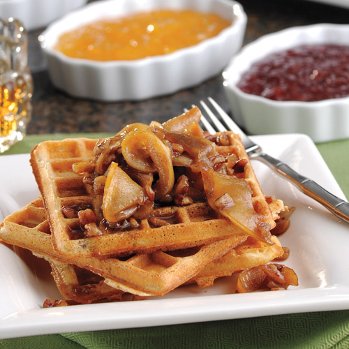 Cinnamon Waffles with Apples and Pecans